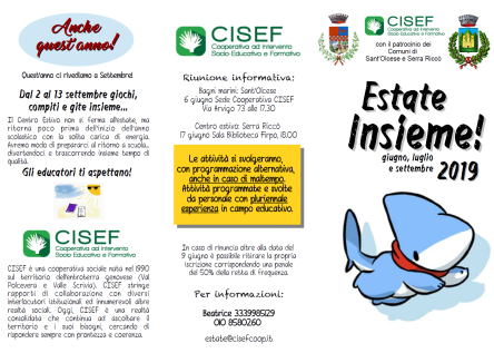 Tutte le attività CISEF per l'estate 2019: ultimi giorni per le iscrizioni!